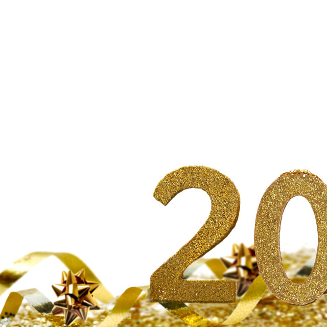 """""""2021 golden figures standing in ribbon and confetti on white bac"""" stock image"""