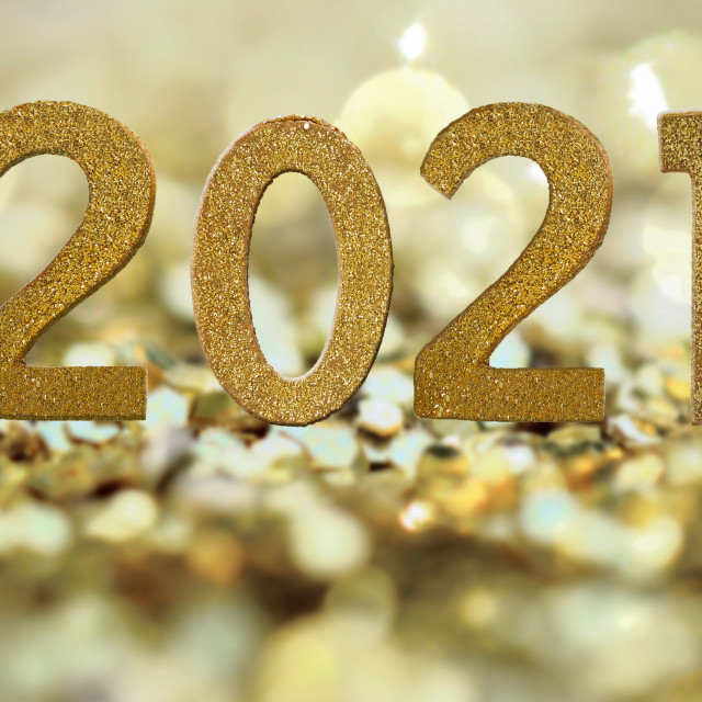 """""""2021 golden figures on abstract golden and bright background"""" stock image"""