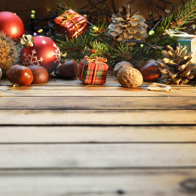 """""""traditional aand natural christmas decoration on wooden table wi"""" stock image"""
