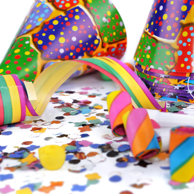 """""""colorful items for event celebration on white background"""" stock image"""