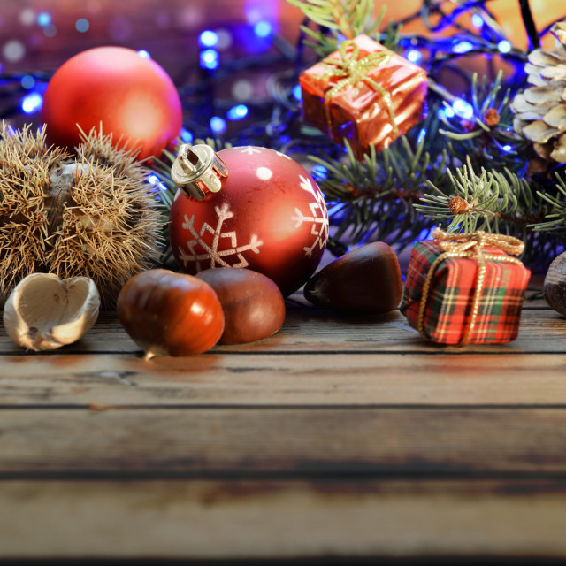 """""""christmas backgrpund decoration on wooden background with lights"""" stock image"""