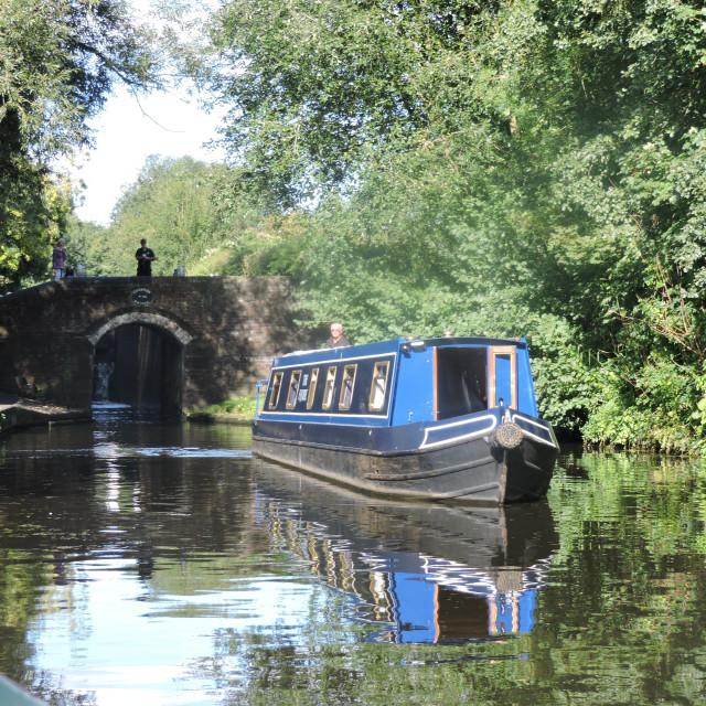 """A Narrowboat by Compton Bridge"" stock image"