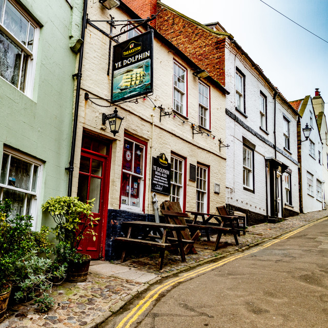 """""""Ye Dolphin is an unspoilt traditional village pub in the seaside village of Robin Hood's Bay near Whitby on the North Yorkshire coast."""" stock image"""