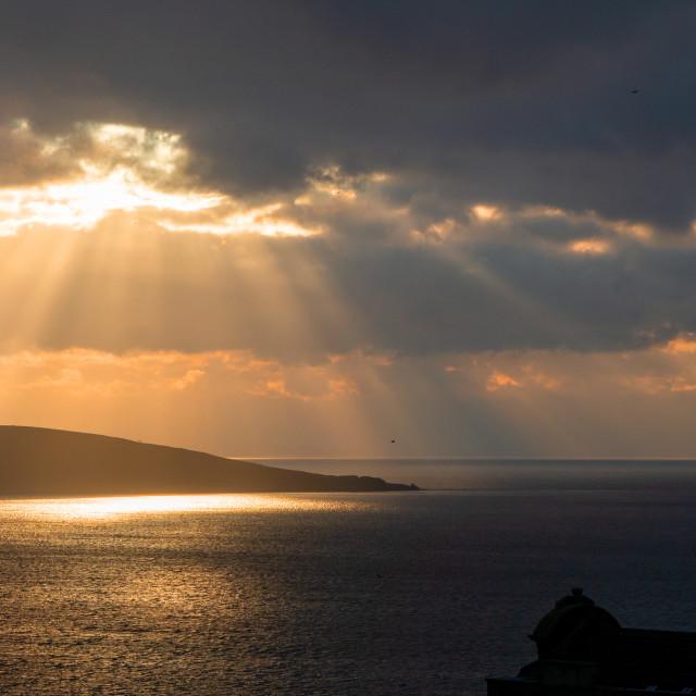 """Sunset over Brean Down Somerset"" stock image"