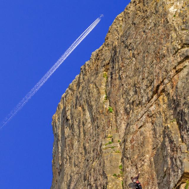 """Climbing at Uphill Somerset"" stock image"