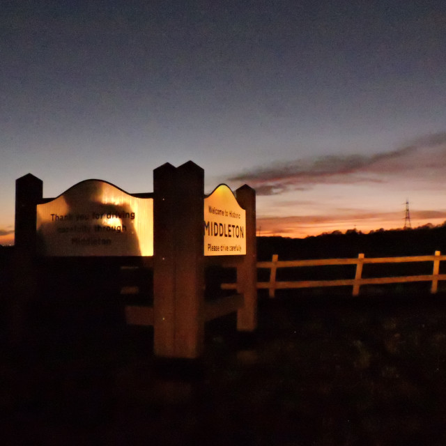 """Early Evening Sunet, Middleton, Staffordshire"" stock image"