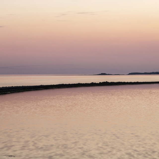"""""""Hilbre Island Sunset Silhouette"""" stock image"""