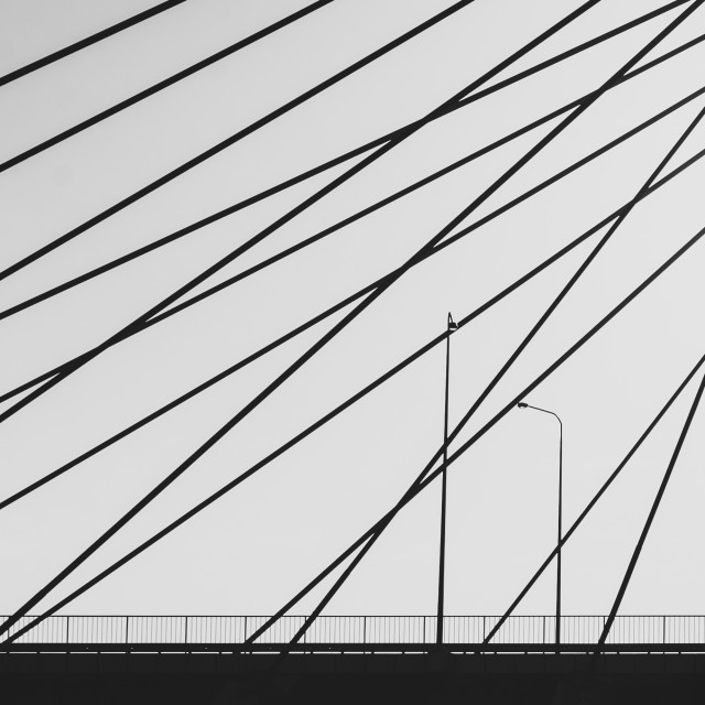 """""""training in the city, bridge and runner in black and white"""" stock image"""