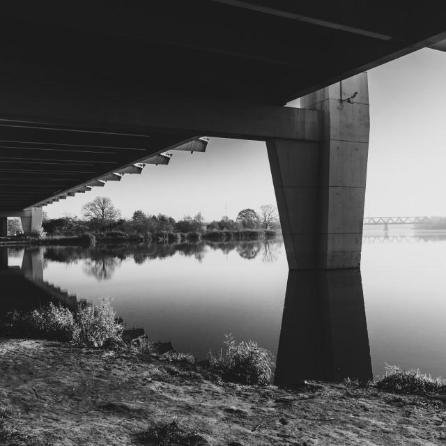 """Milenium bridge in Wroclaw, Poland, black and white"" stock image"