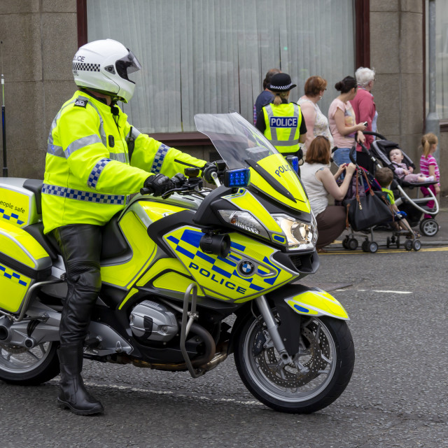 """Police motorcyclist waiting"" stock image"
