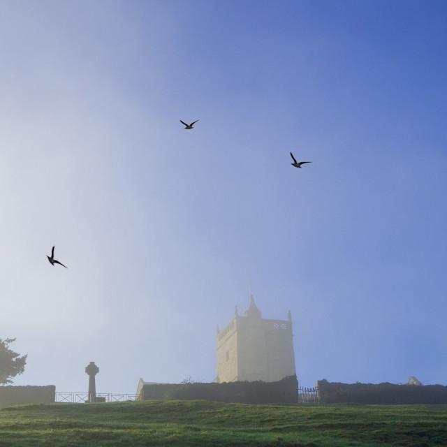 """Mist over Uphill Church Somerset"" stock image"