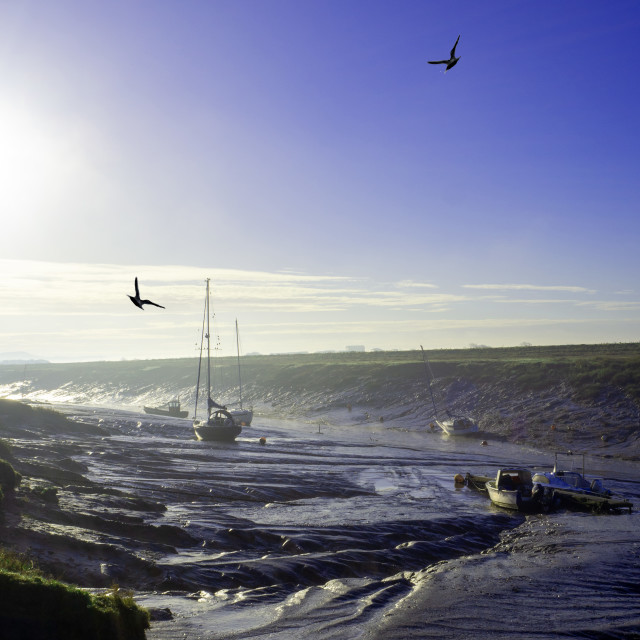 """""""Boats at low tide Uphill Someret"""" stock image"""