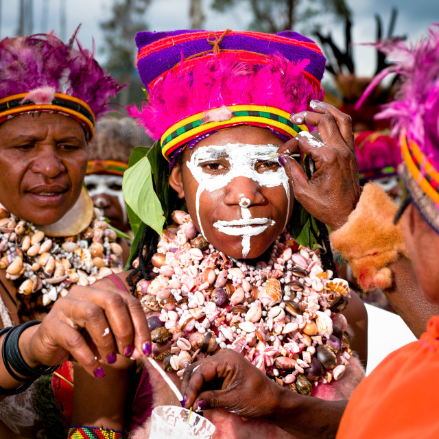 """""""Faces of the Mount Hagen Sin Sing Cultural Show in Papua New Gui"""" stock image"""