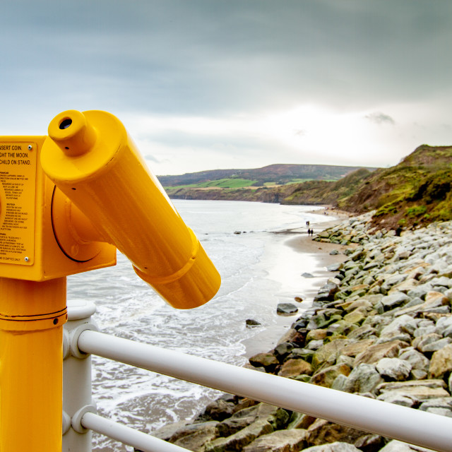 """""""Robin Hoods Bay, Yellow Coin Operated Telescope on the Quarterdeck"""" stock image"""