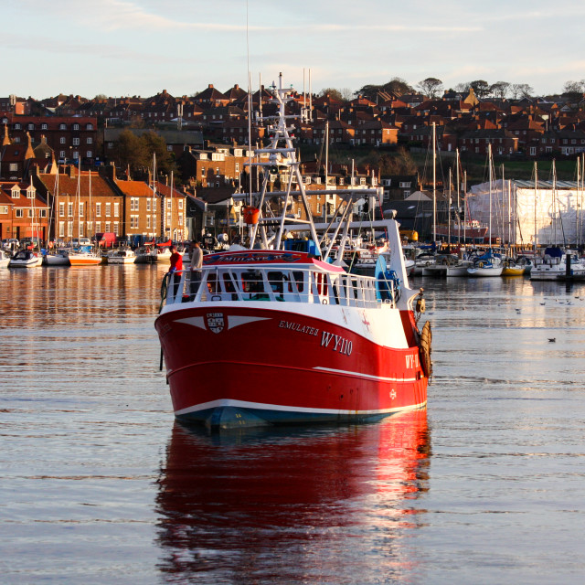 """""""Trawler in Whitby Harbour"""" stock image"""