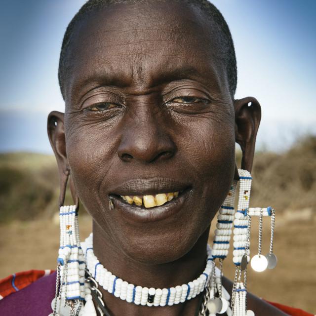 """""""Massai Portrait in Tanzania"""" stock image"""