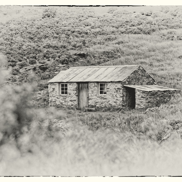 """""""Goldminers cottage near Ophir, Central Otago, New Zealand"""" stock image"""