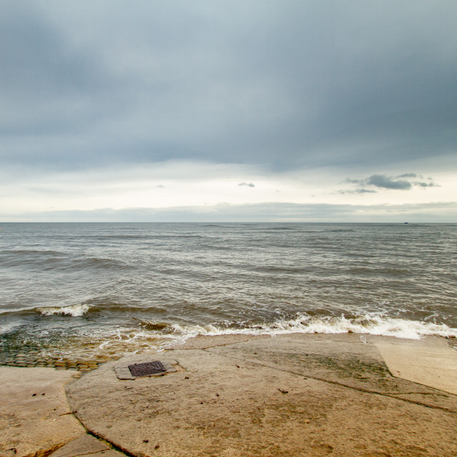"""""""Robin Hoods Bay, Shimmering Sea View from The Slipway Landing"""" stock image"""
