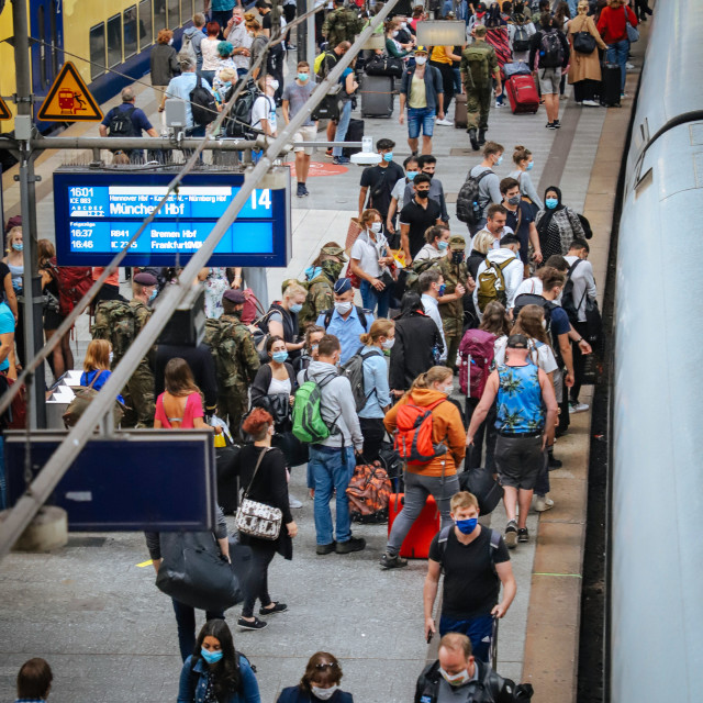 """""""Travelling during the Corona Pandemic and Crisis"""" stock image"""