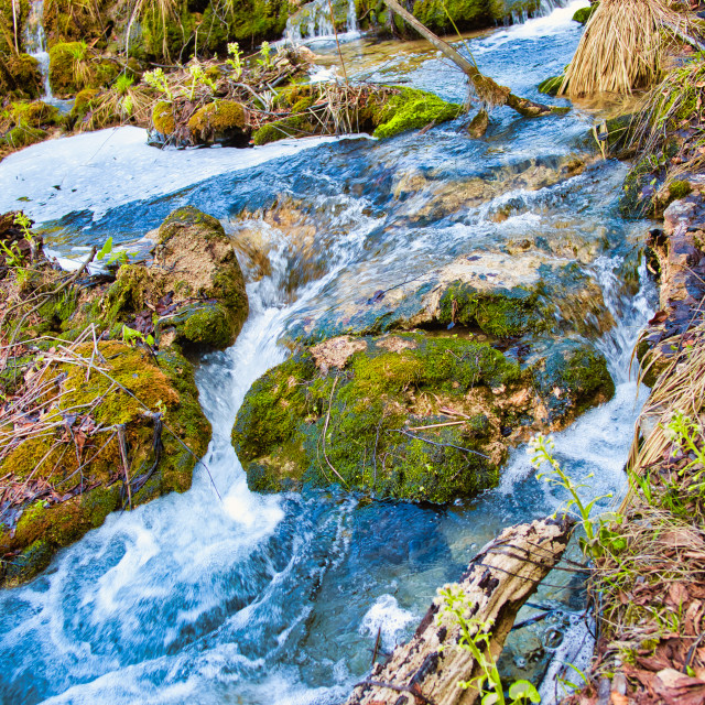 """""""Water Flowing Down Into Rocky Area at Plitvice Lakes"""" stock image"""