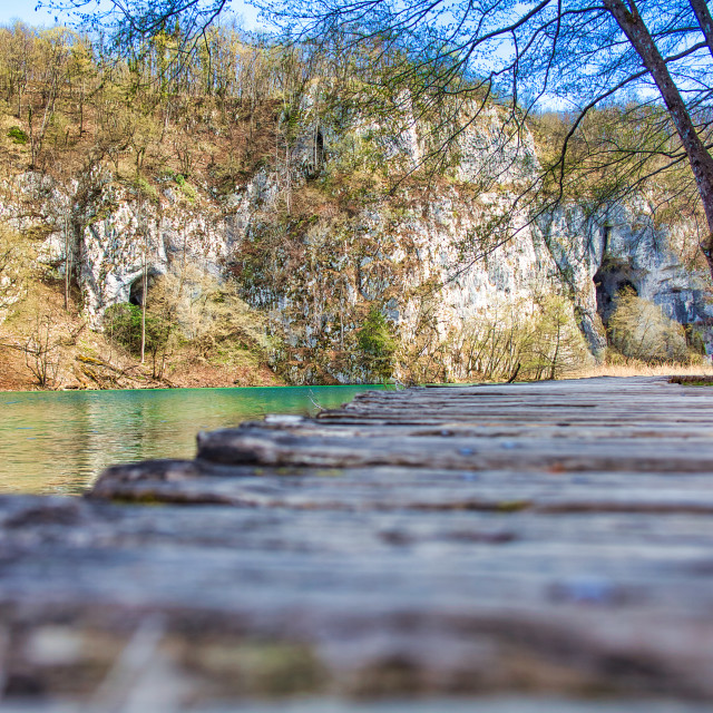 """""""Low Angle View of Wooden Walkway in Plitvice Lakes National Park"""" stock image"""
