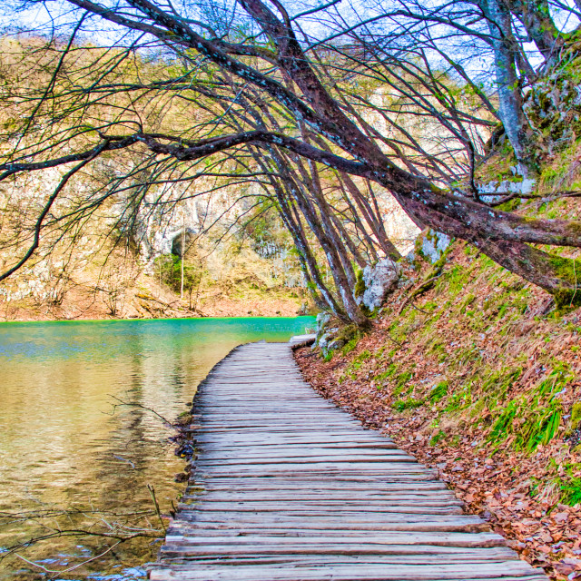 """""""Visitor Walkway Along the Water at Plitvice Lakes National Park"""" stock image"""