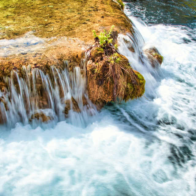 """""""Water Flowing and Splashing Into a Lake"""" stock image"""