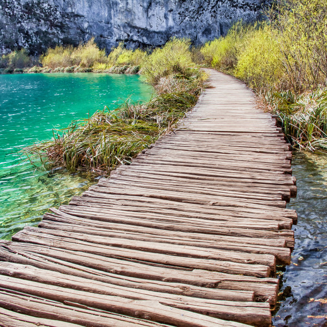"""""""Curved Wooden Path Along the Water at Plitvice Lakes National Park"""" stock image"""