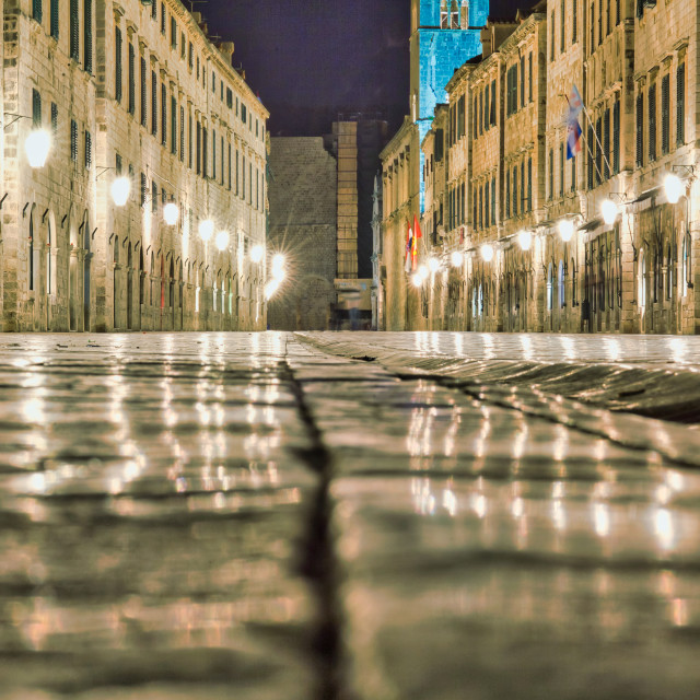 """The Stradun in Dubrovnik Illuminated at Night"" stock image"