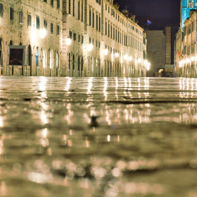 """Low Angle View of Dubrovnik's Stradun Illuminated at Night"" stock image"