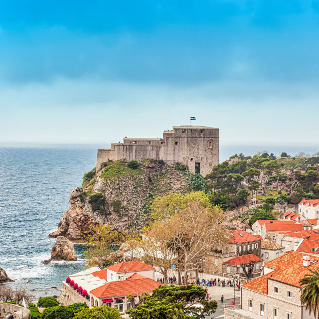 """""""Old City of Dubrovnik and Fortress Overlooking the Adriatic Sea"""" stock image"""