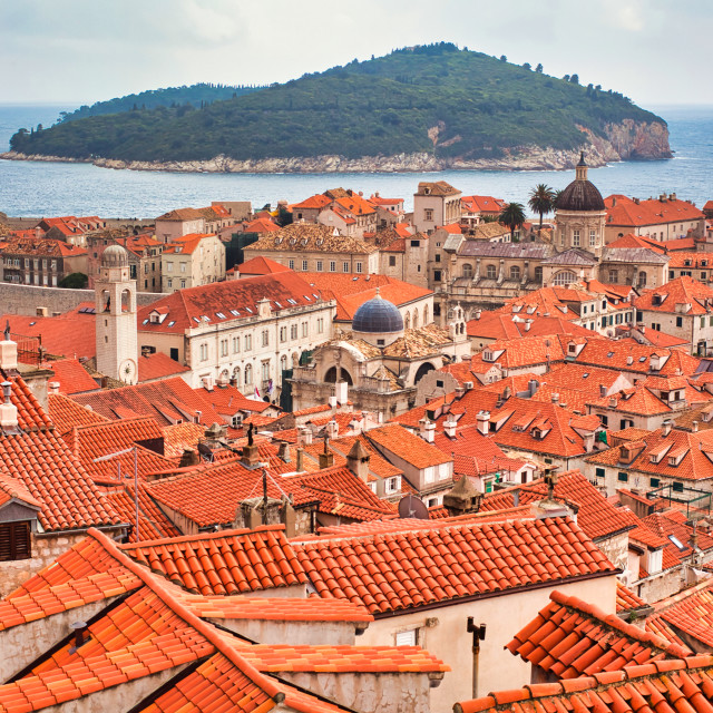 """""""High Angle View of Old City of Dubrovnik, Lokrum and Adriatic Sea"""" stock image"""