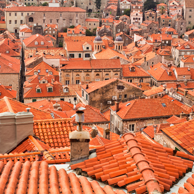 """""""High Angle View of Tiled Rooftops in the Old City of Dubrovnik"""" stock image"""