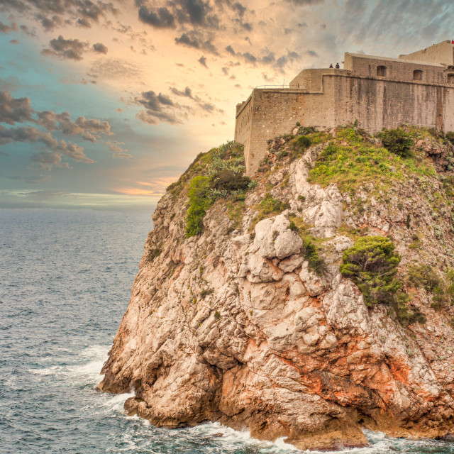 """""""Dubrovnik Fort Overlooking the Adriatic Sea During Twilight"""" stock image"""