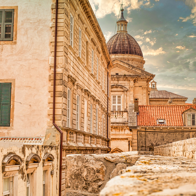 """""""View of Old City of Dubrovnik and the Domed Cathedral"""" stock image"""