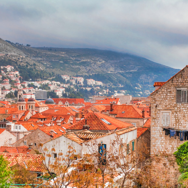 """""""High Angle View of Old City of Dubrovnik With Mountain In Background"""" stock image"""