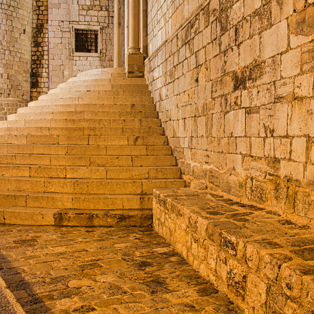 """""""Side View of Church Stone Exterior and Steps Leading Up To Entrance"""" stock image"""