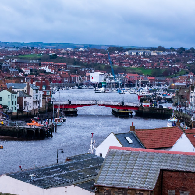 """""""Whitby Harbour early Morning"""" stock image"""
