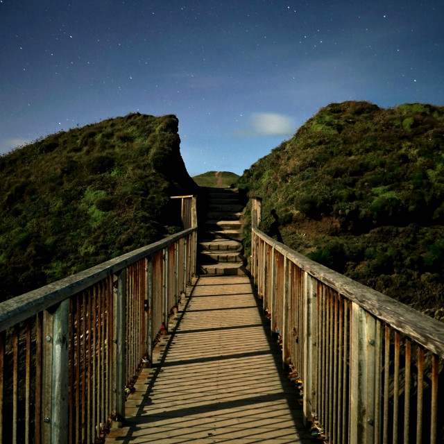 """""""Bridge to Trevegue Headland."""" stock image"""