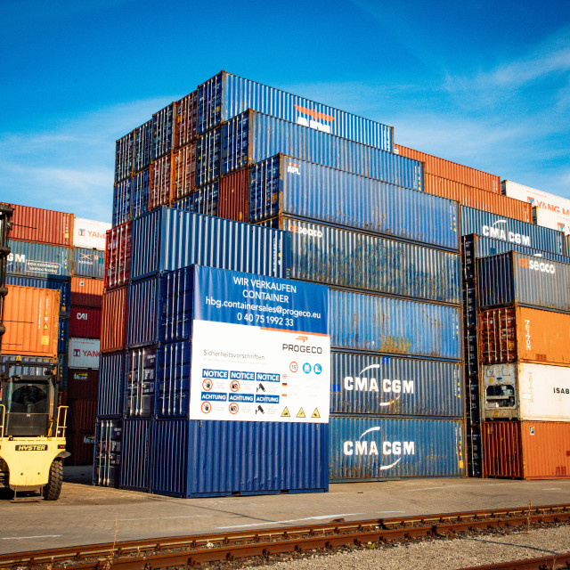 """""""Used Containers for Sale at Container Terminal in the Port of Ha"""" stock image"""