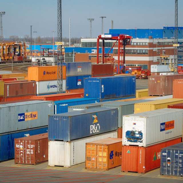 """""""Container Terminal in the Port of Bremerhaven"""" stock image"""