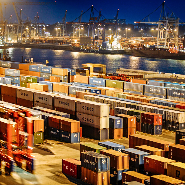 """""""Container Terminal in the Port of Hamburg"""" stock image"""