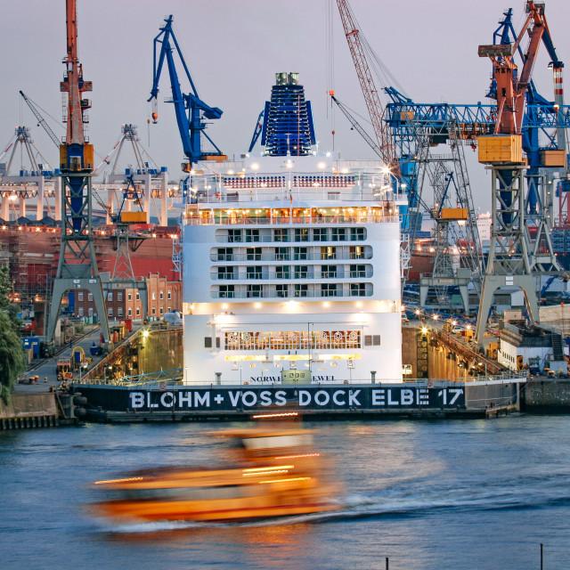 """Blohm und Voss Shipyard in the Port of Hamburg"" stock image"