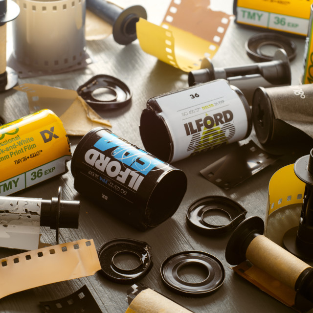 """Empty 35mm film canisters"" stock image"