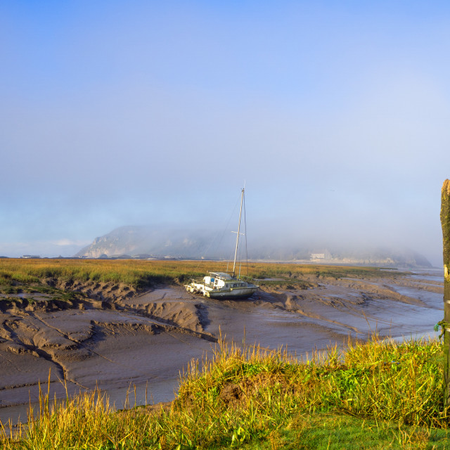 """""""Brean Down from Axe Estuary Somerset"""" stock image"""