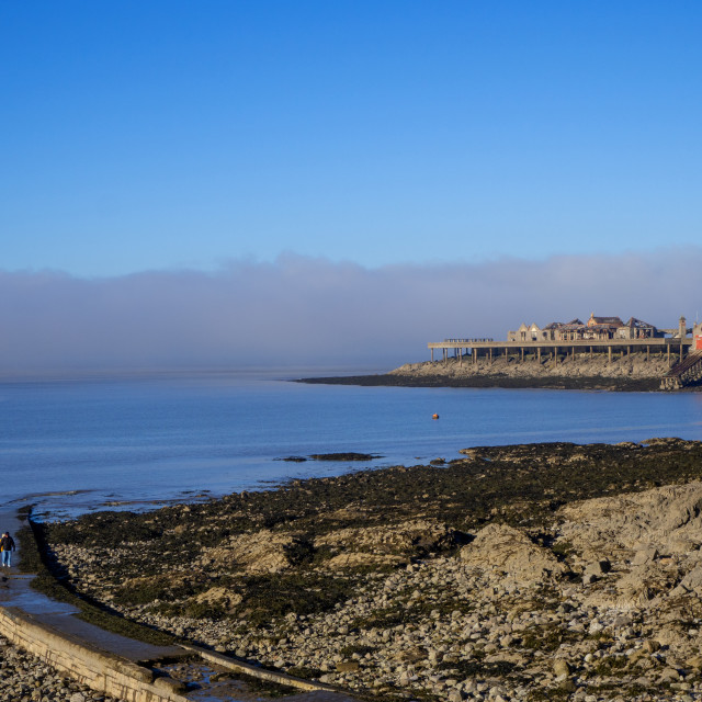 """Birnbeck Pier from Anchor Head Somerset"" stock image"