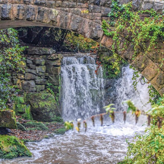 """Jesmond Dene Falls"" stock image"