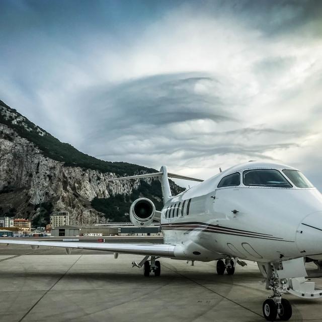 """""""Private jet in Gibralter"""" stock image"""