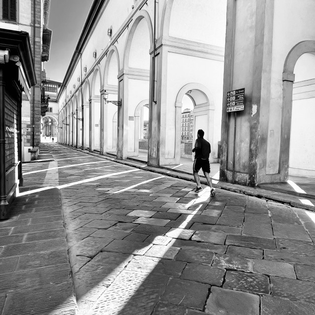 """""""A morning run in a deserted Florence"""" stock image"""