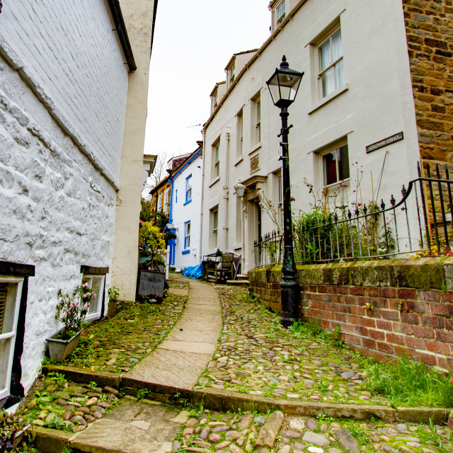 """""""Stone Flagged Path with Cobbles leading to Littlewood Terrace, Robin Hoods Bay East Yorkshire Coast."""" stock image"""